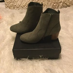 Olive Faux Suede Ankle Western Bootie BNIB